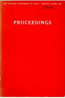 Proceedings - The Canadian Conference on Aging  - Toronto, Canada 1966