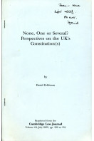None, One or Several ?  Perspectives on the UK's Constitution(s)