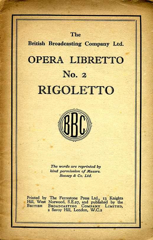 VERDI, GIUSEPPE - Opera Libretto : No 2 : Rigoletto
